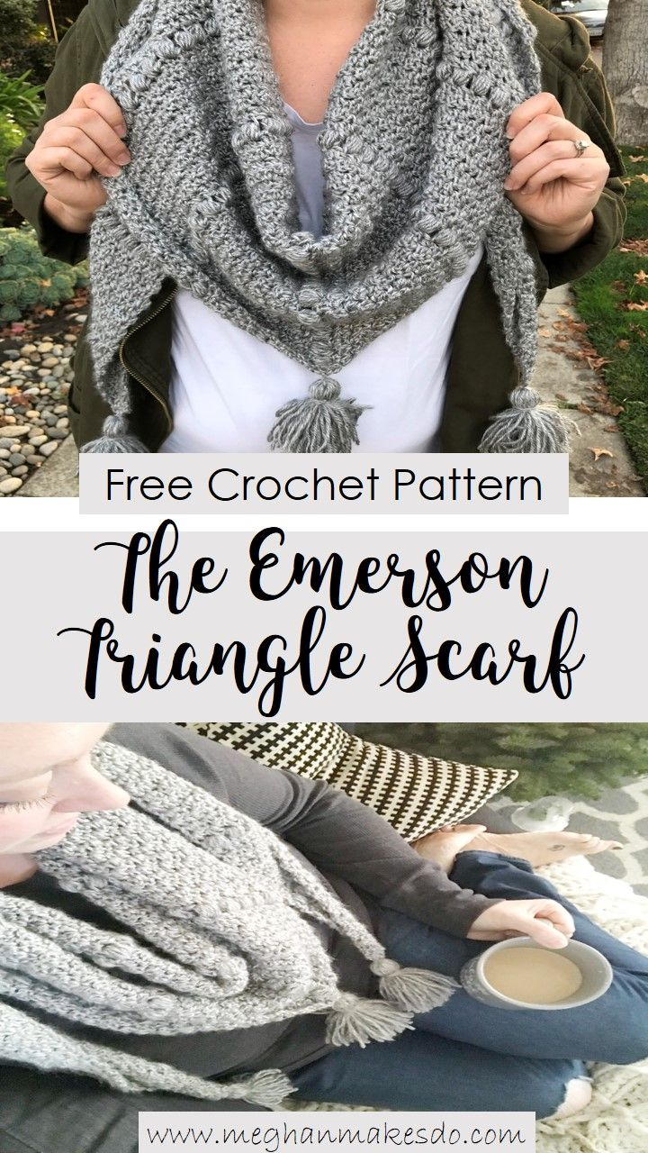 Dec 29 The Emerson Triangle Scarf-Free Crochet Pattern | Ganchillo y ...