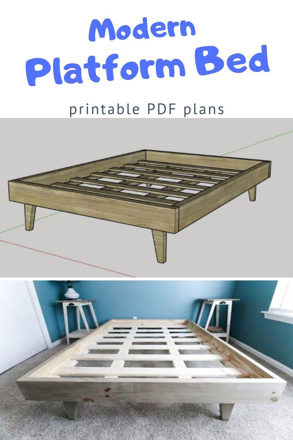 How To Build A Platform Bed For 50 Free Pdf Plans In 2020 Build A Platform Bed Diy Platform Bed Modern Platform Bed