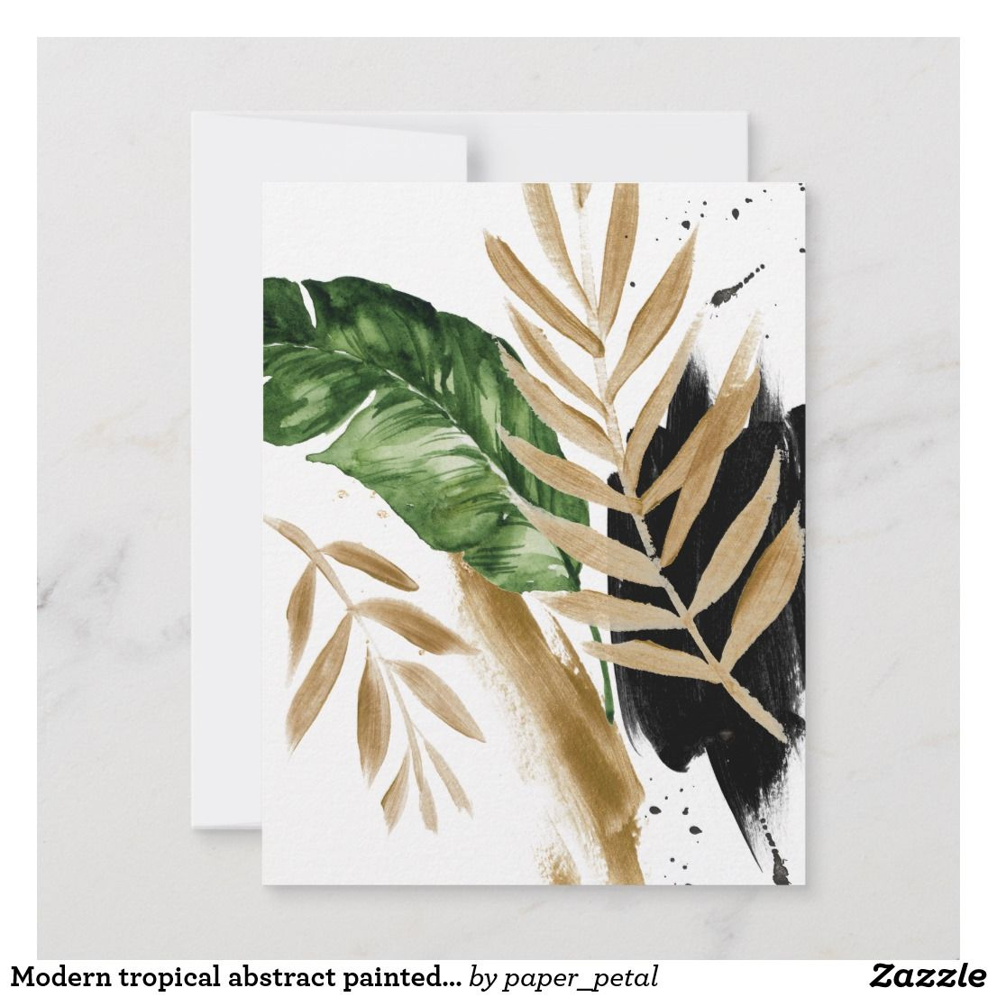 Modern Tropical Abstract Painted Wedding Details Rsvp Card Zazzle Com In 2021 Abstract Painting Abstract Tropical Wall Art