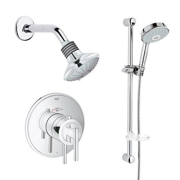 Grohe Chrome Timeless Thermostatic Shower System Multi-Function ...