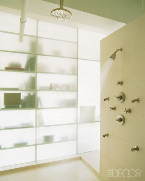 Frosted Wall Cool Shower Glass Wall Windowless Bathroom Faux Window