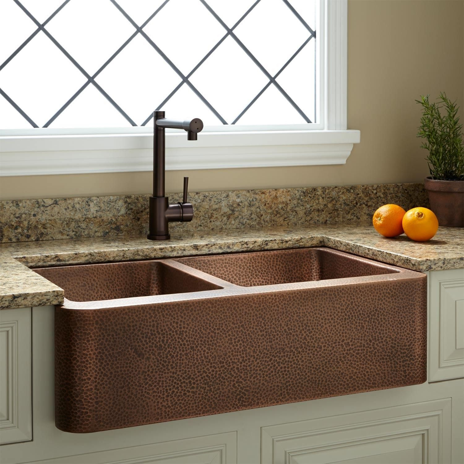33 Hammered Copper 60 40 Offset Double Bowl Farmhouse Sink
