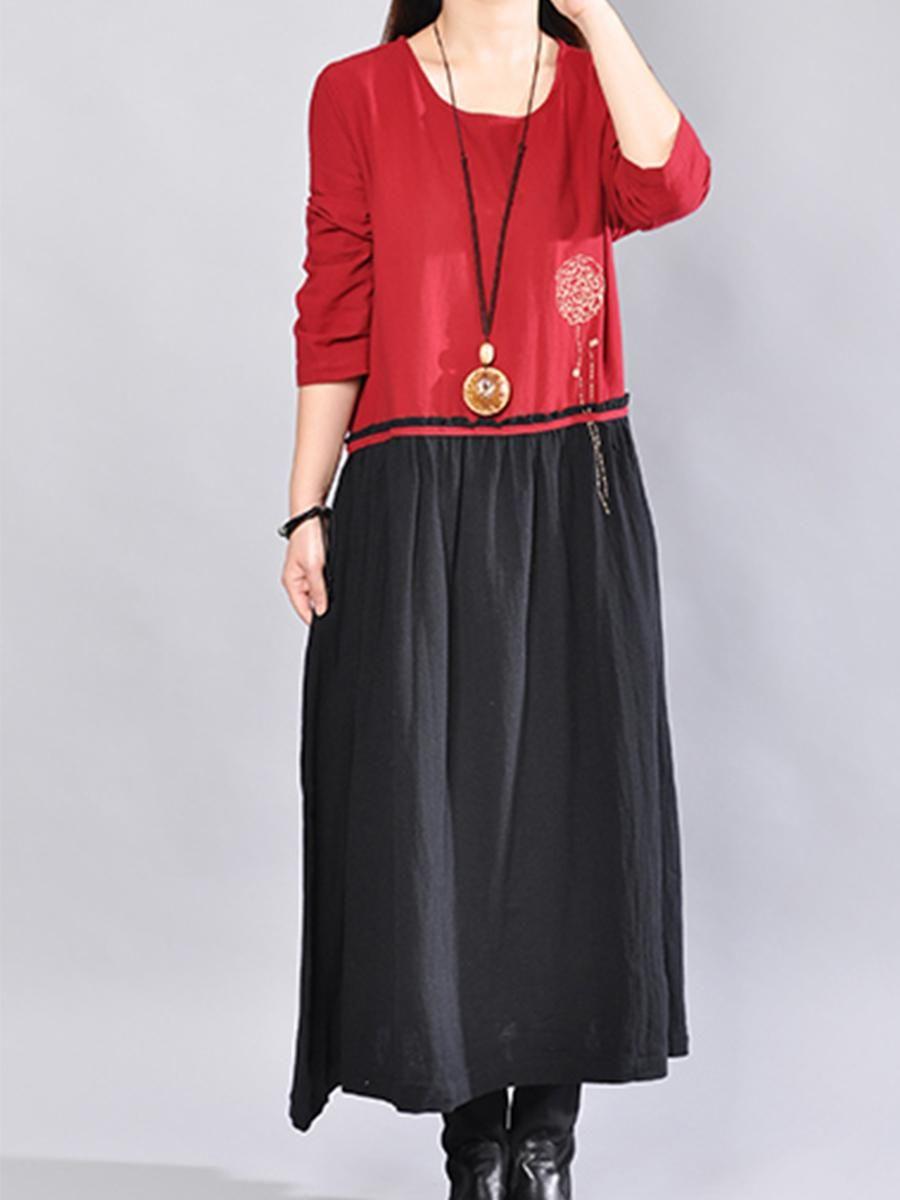 Adorewe berrylook berrylook round neck color block maxi dress