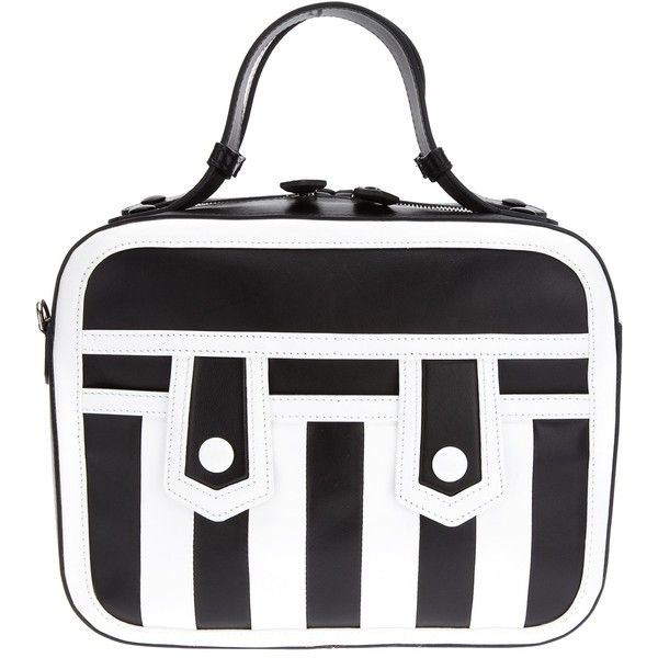 MOSCHINO 'Gloria' mini briefcase bag (£1,440) ❤ liked on Polyvore featuring bags, handbags, genuine leather purse, black and white handbags, man bag, leather hand bags and hand bags