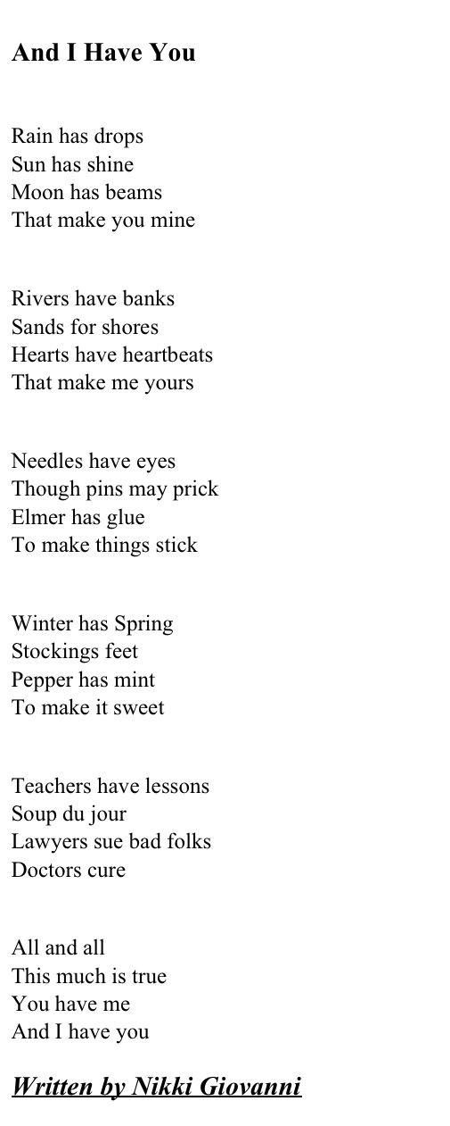 Nikki Giovanni Love Poems 1