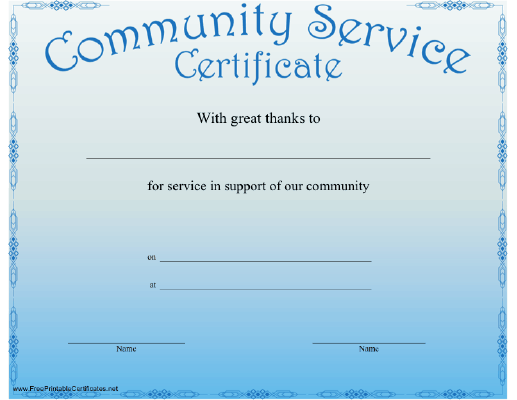 a blue certificate recognizing community service free to