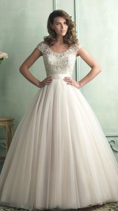 Gorgeous ballgown!! Modest wedding dress. #tulle, would make a  lovely formal or prom dress but, the cost is probably prohibiting.