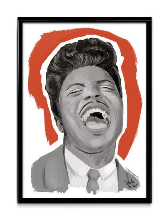 Lámina en tamaño A4 firmada a mano y numerada (tirada de 10 ejemplares) con ilustración original de Little Richard. Little Richard Limited digital print by Pedrita Parker. #pedritaparker #print #littlerichard #fifties #music #rock #illustration