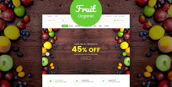 Fruit - Organic Food Shop RTL Responsive WooCommerce WordPress Theme