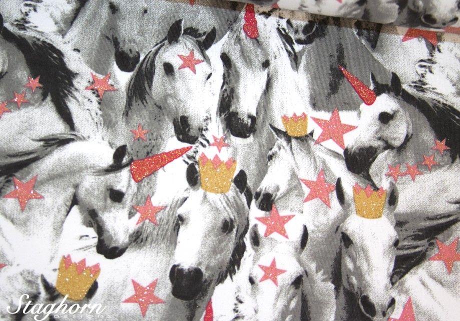 Glitzer Sweat Unicorn Love Koralle Elastisch Okotex Fabric Poppies Pink
