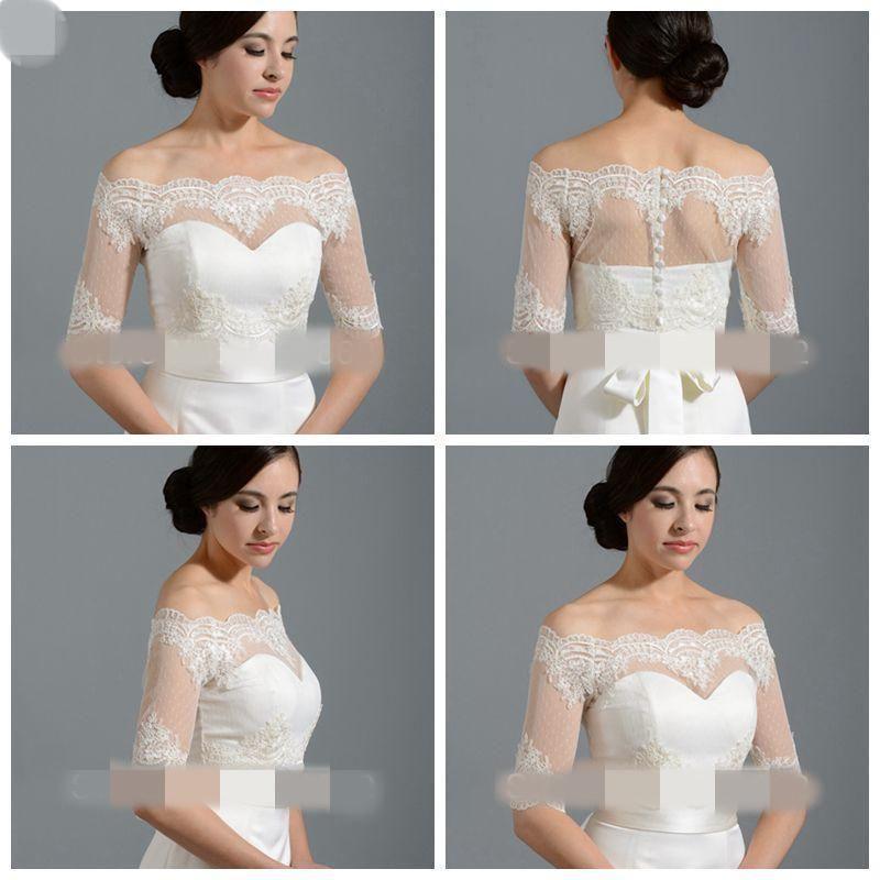 Off Shoulder Wedding Jackets Half Sleeves Bridal Lace Top Wraps Shrug Bolero New