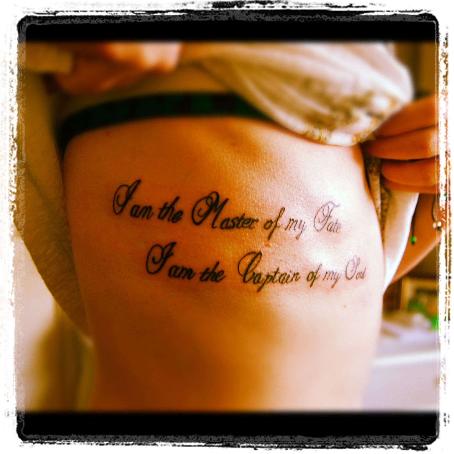 Tattoo Quotes Poetry: Rib Tattoo. I Am The Master Of My Fate; I Am The Captain