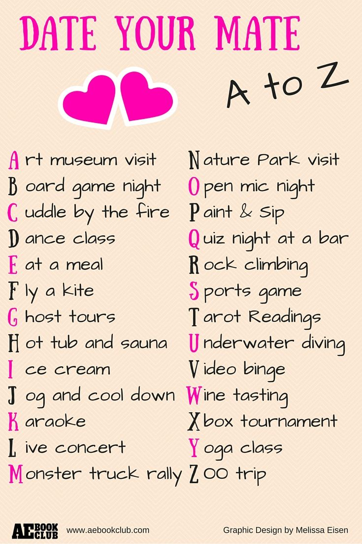 Date Your Mate - A to Z | Spending time together in different ways helps  couples