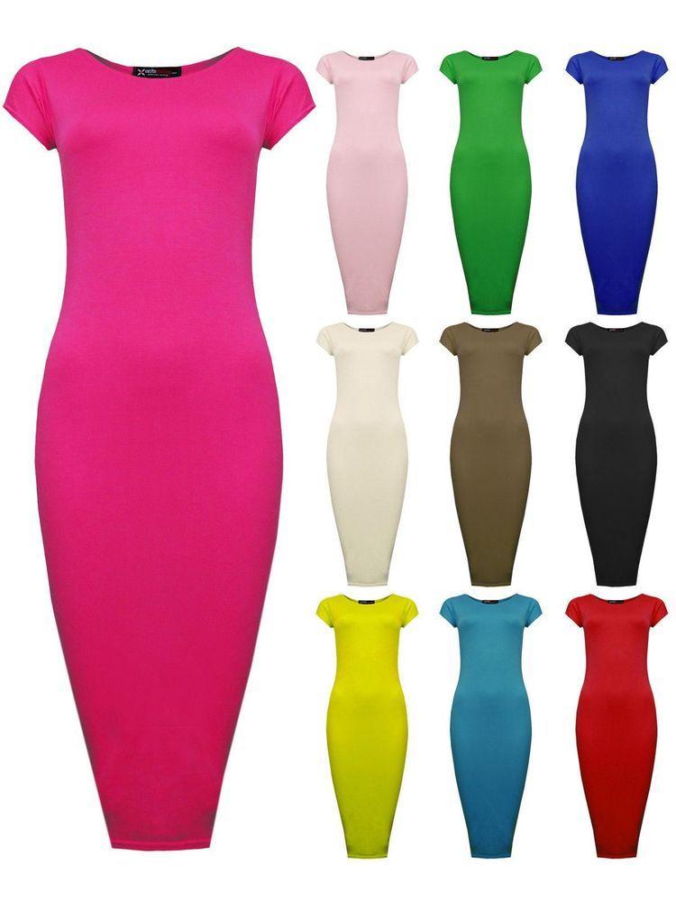 Womens Ladies Cap Sleeve Midi Dress Bodycon Summer Maxi Midi Dress Plus Size