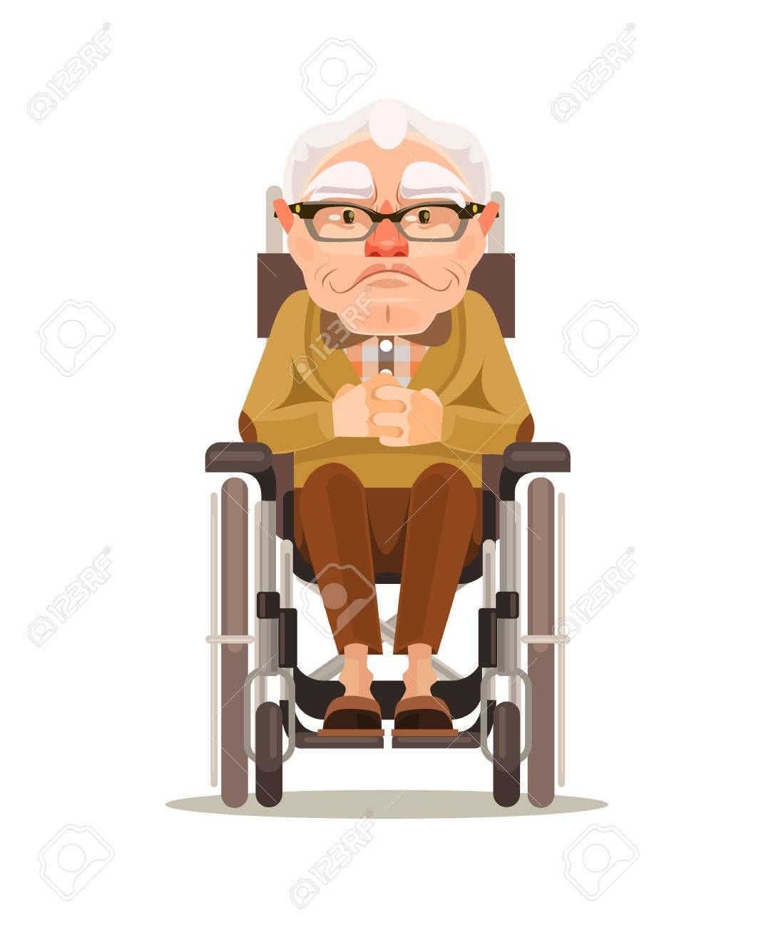Happy Smiling Old Man Character Sitting In Wheelchair Vector Man Character Character Cartoon Illustration