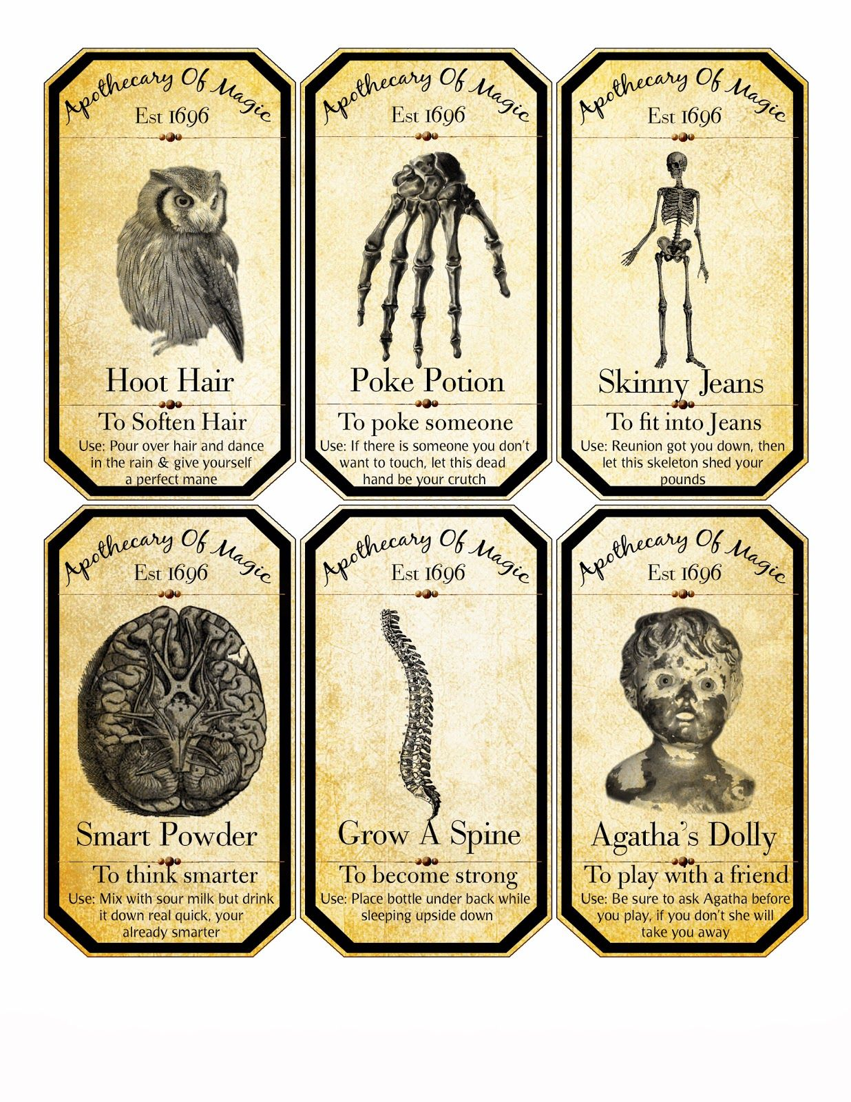 Invaluable image throughout harry potter apothecary labels free printable