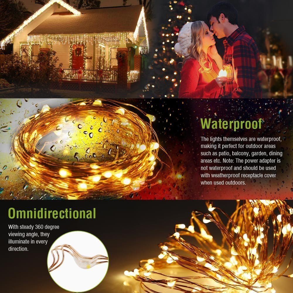 Warm White 10M//33FT 100LED Copper Wire String Party Xmas Decoration Fairy Light