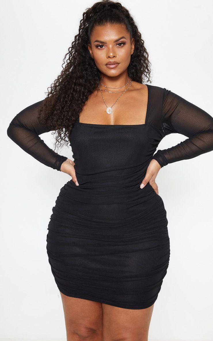 Plus Black Mesh Square Neck Ruched Bodycon Dress Ruched Bodycon Dress Bodycon Dress Black Women Fashion [ 1180 x 740 Pixel ]