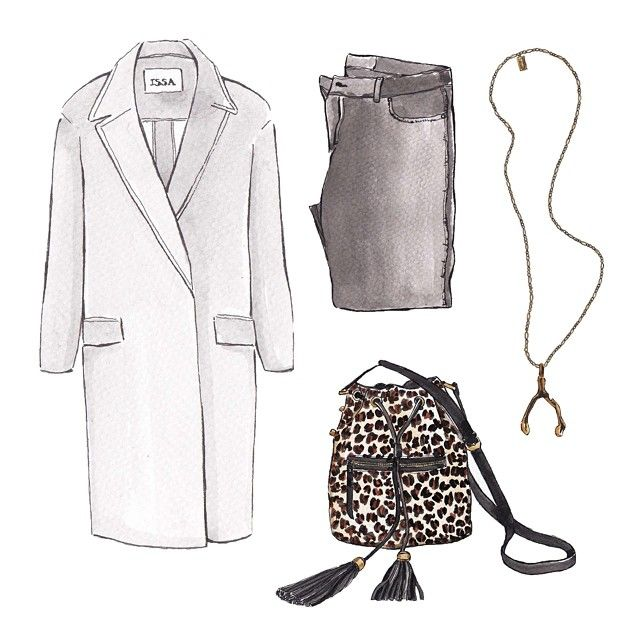 Good objects *outfit* - Grey basics + leopard @fortuneandframe whisbone necklace @ayresoficial leopard bag @issalondon grey coat #goodobjects