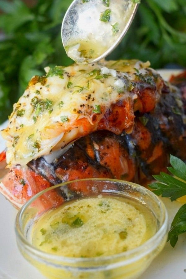 Broiled Lobster Tail with Garlic Lemon Butter #broiled #lobster #garlic #lemon #easyrecipe #food