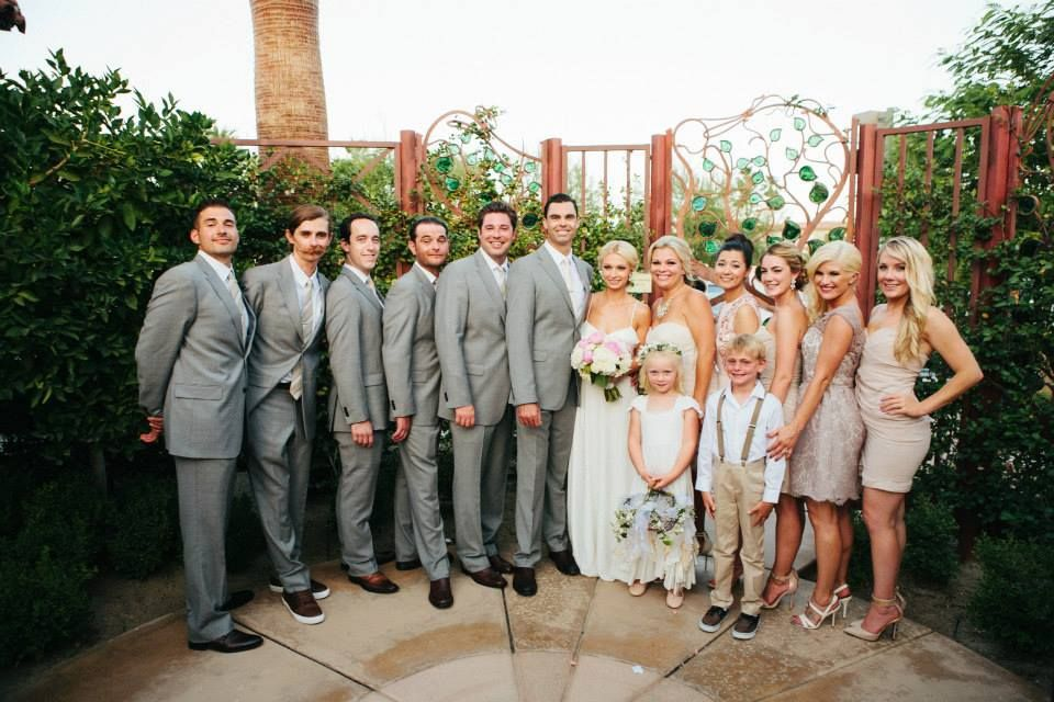 Bridesmaid Dresses In Neutrals Champagne Beige And Pale: Neutral Bridesmaid Dresses & Gray Groomsmen Suits