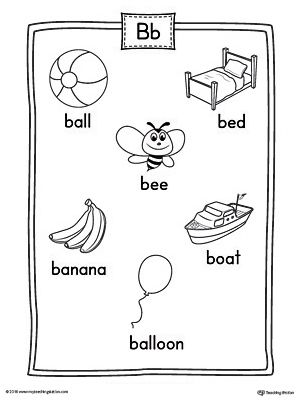 letter b word list with illustrations printable poster lesson plans activities for toddlers. Black Bedroom Furniture Sets. Home Design Ideas