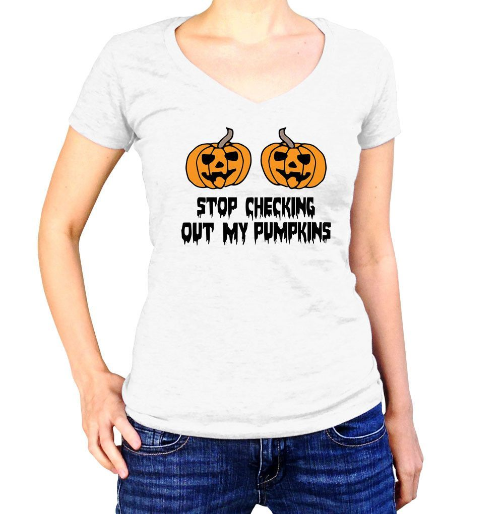 Stop Checking Out My Pumpkins Halloween T-Shirt