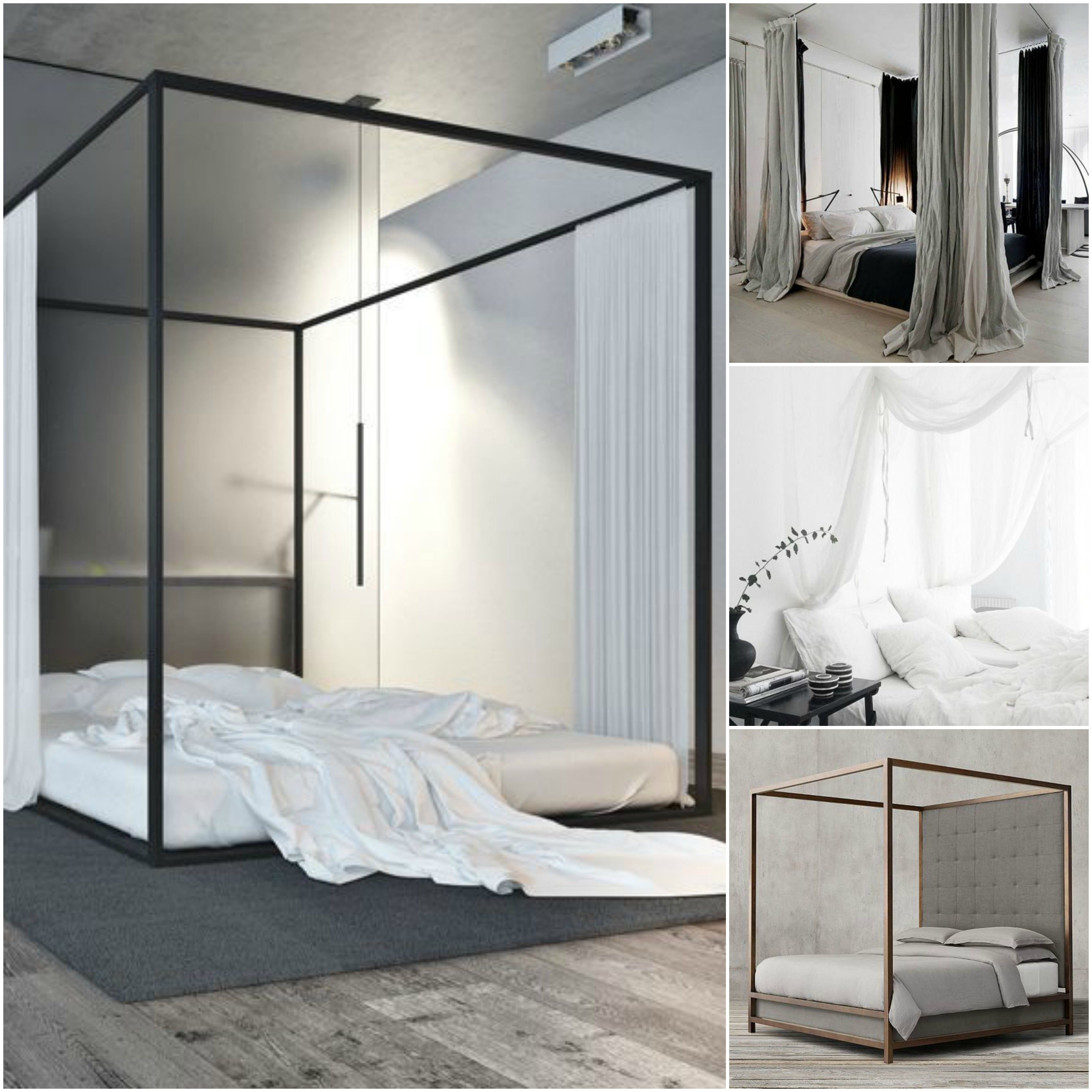 fourposterbed #hemelbed #modern #curtains #gordijnen #linen #linnen ...