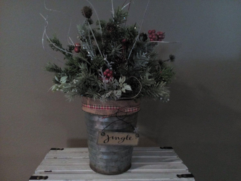 Jingle Galvanized Christmas Floral Arrangement/ Holiday Floral Table Arrangement/Primitive Floral/Country Christmas Floral Arrangement by SheilasHomeCreations on Etsy