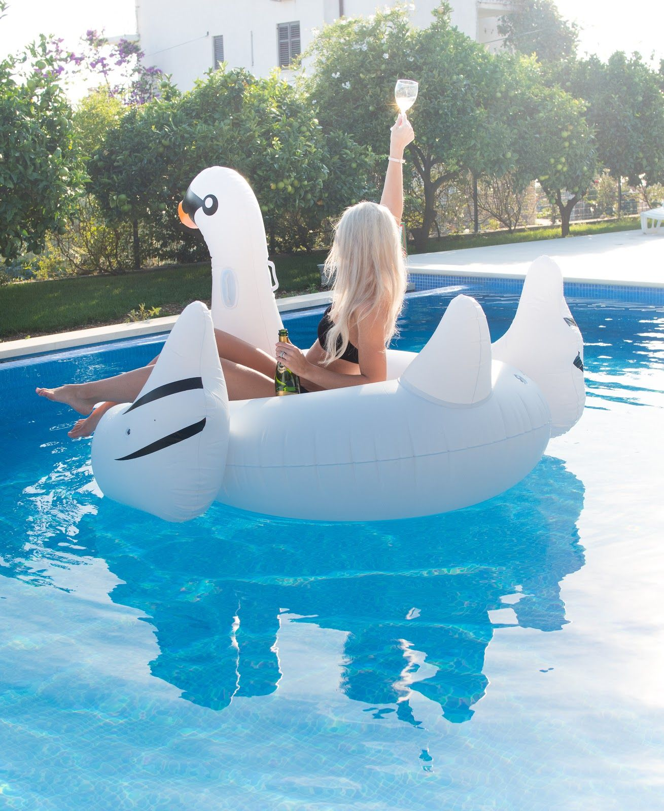 Dreaming away to a warmer place: Swan poolfloat and poolparty