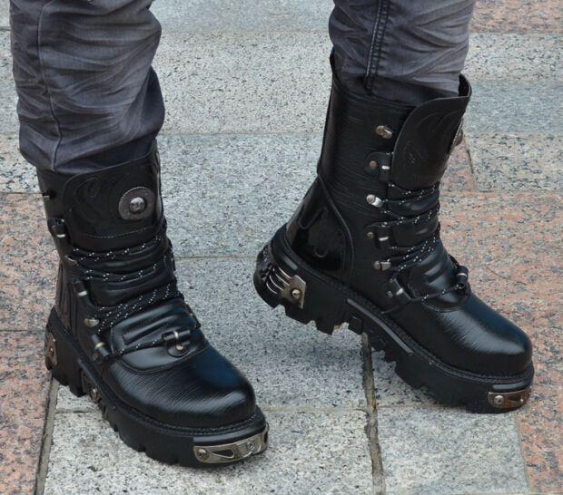 Men S Martin Combat Boots Goth Punk Rock Band Lace Up