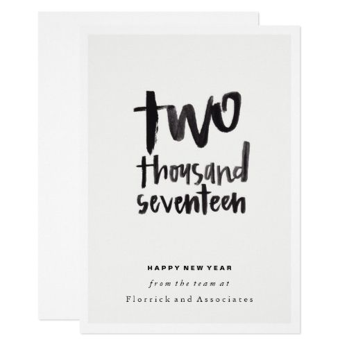Black Letter Two Thousand Seventeen New Year Card 2017 Christmas - holiday letter