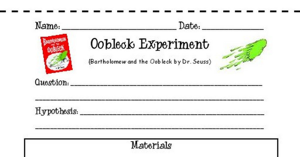 Oobleck Experiment Worksheets