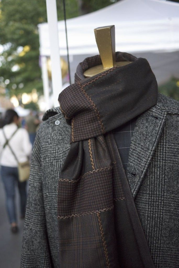 C Joseph Grey Tweed and Brown Scarf