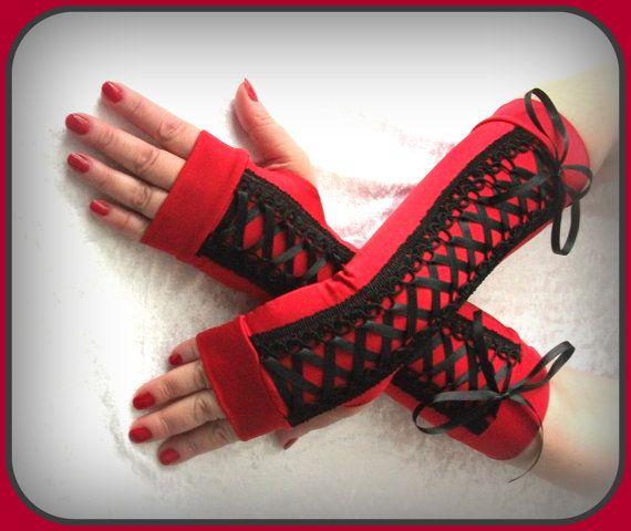 Red fingerless gloves  Corset Handcocktail glovesdance by galinesa