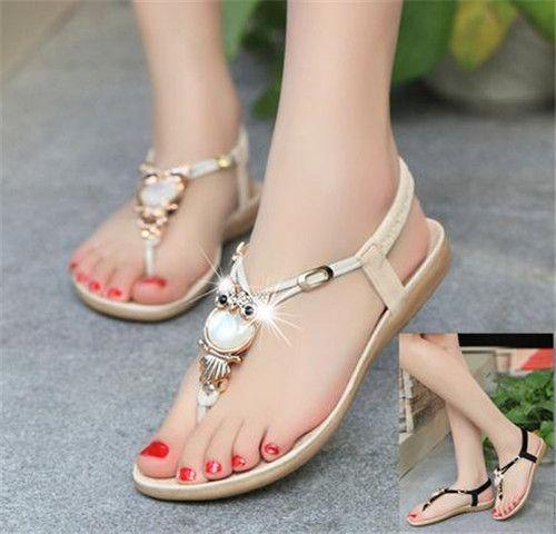 90324b19d02 Fashion OWL Flat bead massage sandalsSoft Bottom Shoes for Women. Starting  at  15