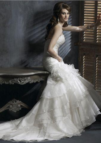 elegant organza strapless sleeveless sweetheart trumpetmermaid aline ...