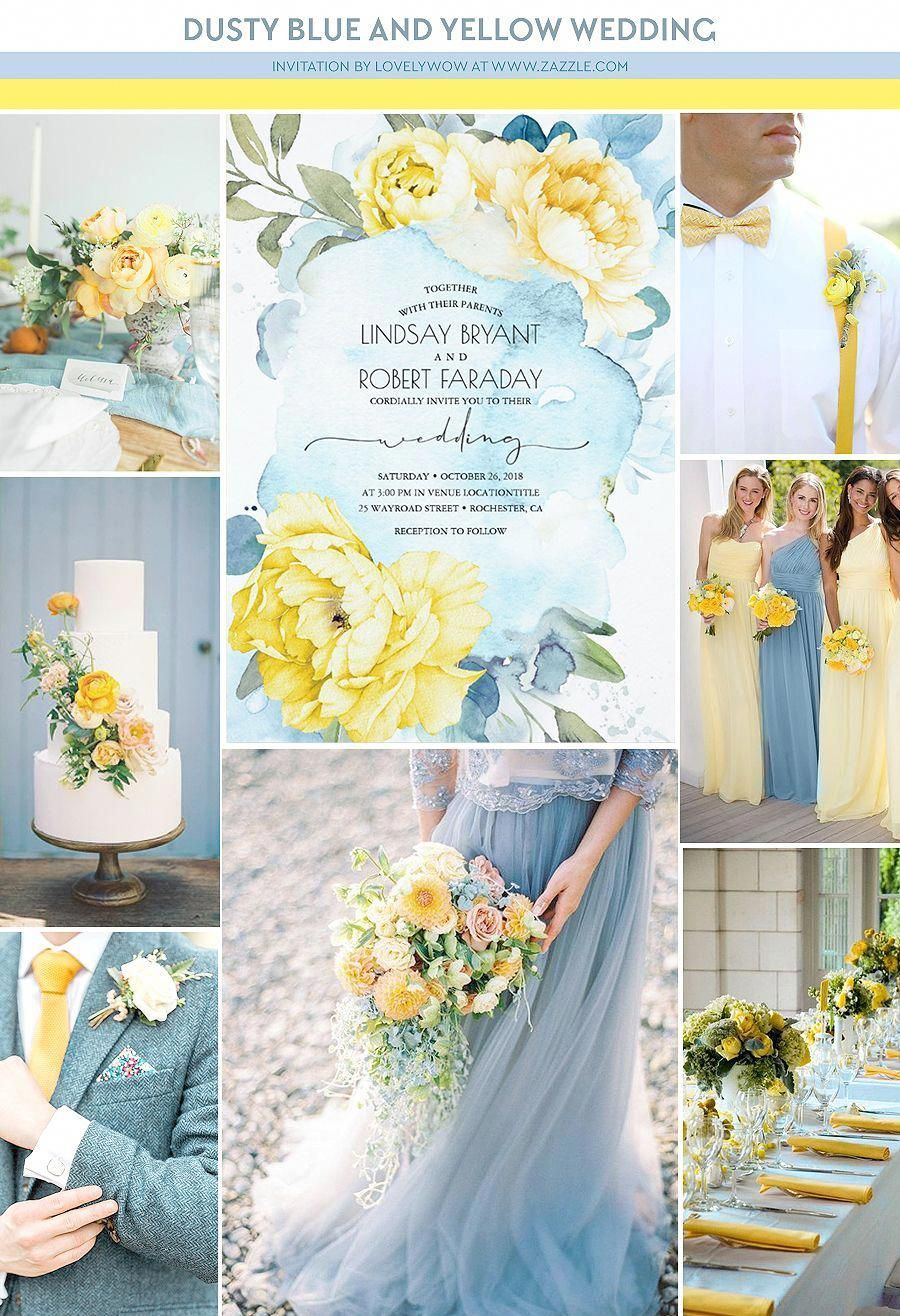 Dusty Blue and Yellow Floral Wedding Invitation | Zazzle.com