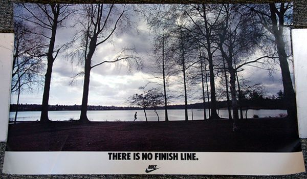Vintage Original THERE IS NO FINISH LINE c.1982 Nike Running by Lake Poster