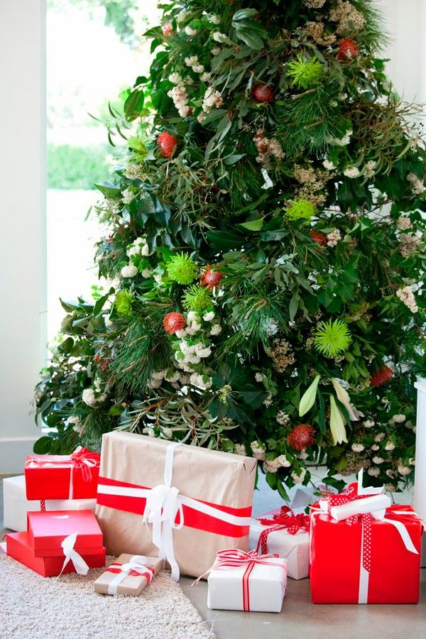 summer christmas tree decorated with australian native