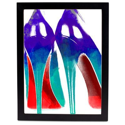 """SafiyaJamila High Heels Watercolor Framed Graphic Art in Blue and Red Size: 20"""" H x 16"""" W x 1"""" D, Frame Color: Black"""