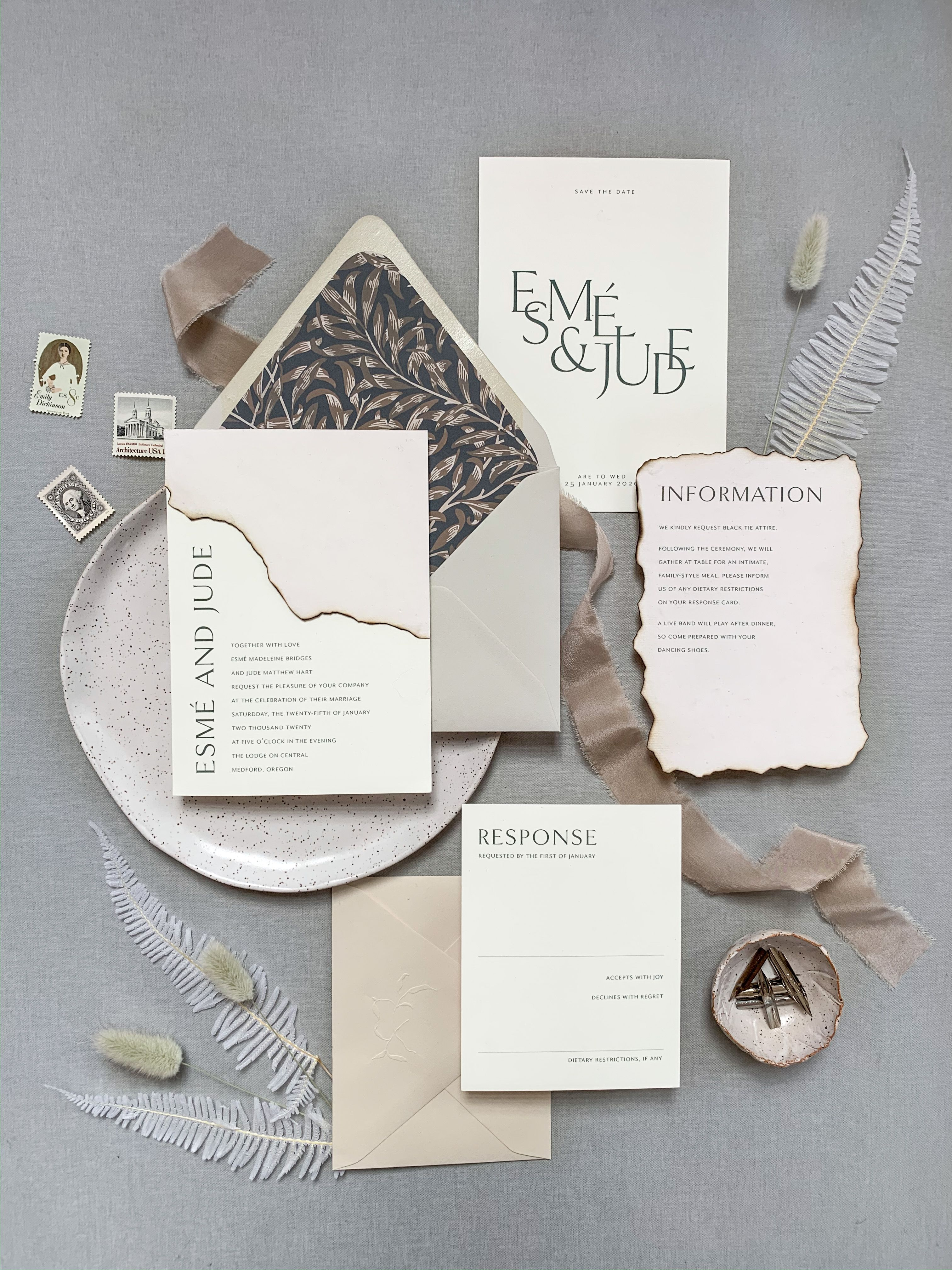 Modern Wedding Invitations With Burned Edges Unique Wedding Stationery Wedding Invitation Design Unique Wedding Invitations