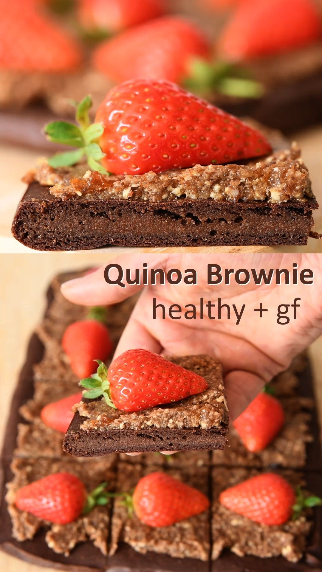 Chocolate Brownie - 4 Ingredients -  Healthy quinoa brownies that are high in protein with no sugar