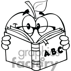 6522 Royalty Free Clip Art Black And White Apple Teacher Character Reading A Book Free Clip Art Coloring Pages Printable Christmas Coloring Pages