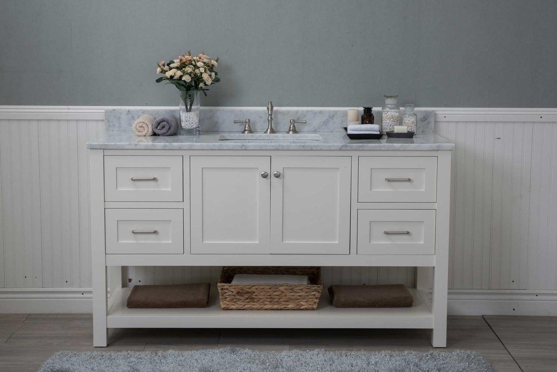 White Shaker 60 Bathroom Vanity 4 Drawers 1 Sink Open Shelf W