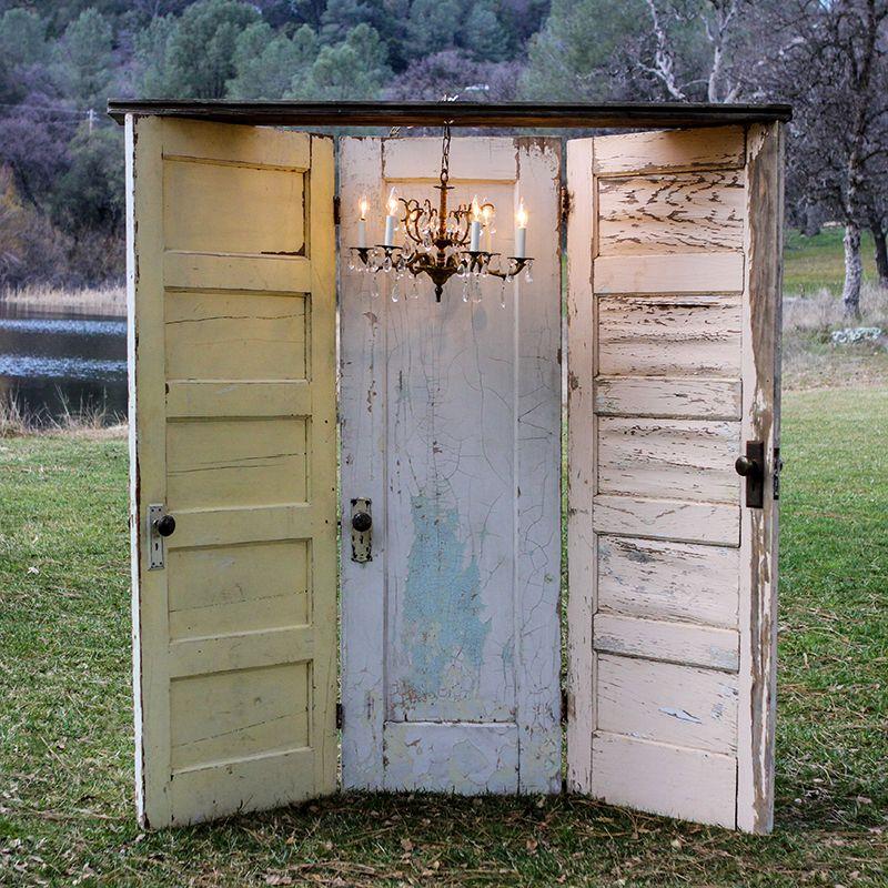 Rustic Door Wedding Ideas: Vintage Three Door With Chandelier (Yellow, White & Aqua