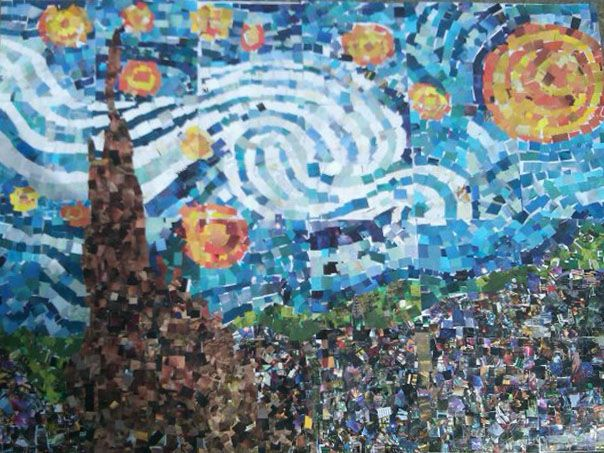 Art projects for kids starry night collage using mural for Collage mural ideas