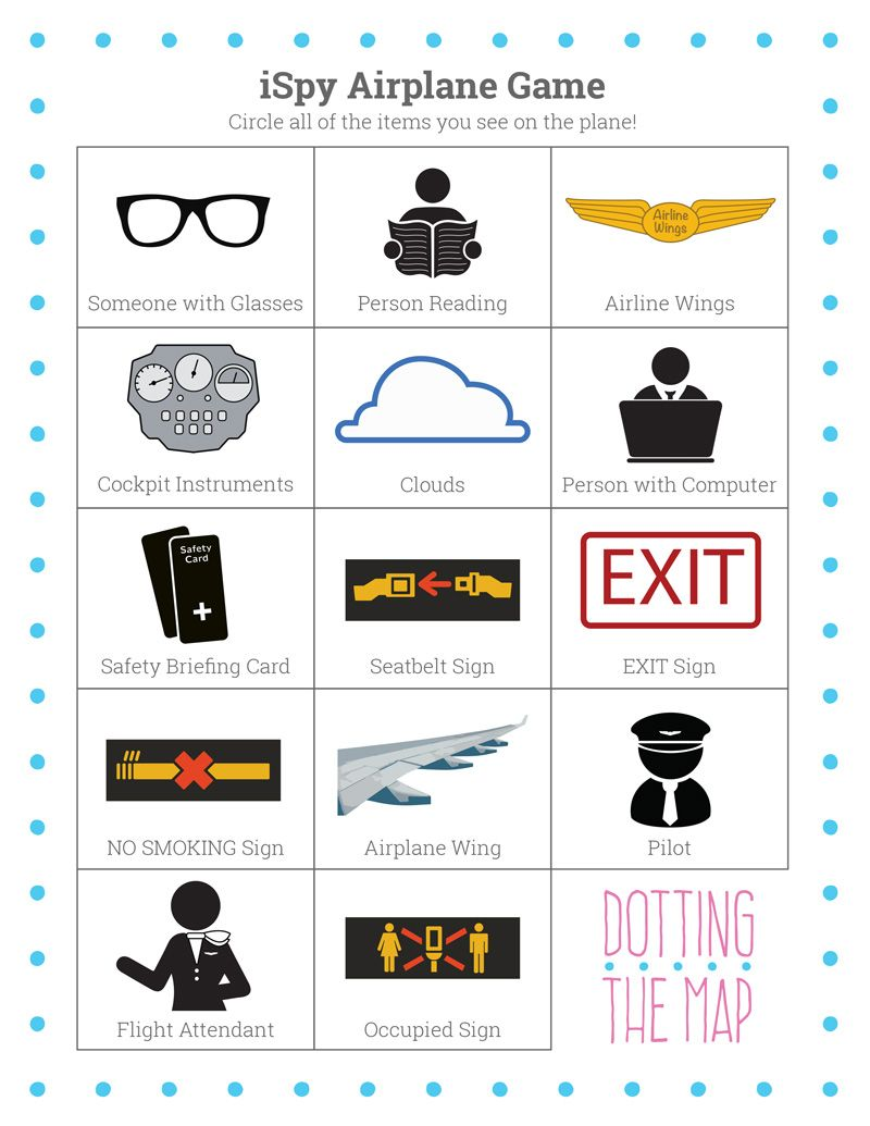 Airplane Ispy Travel Game Free Printable Travel Games Airplane Games For Kids Airplane Games