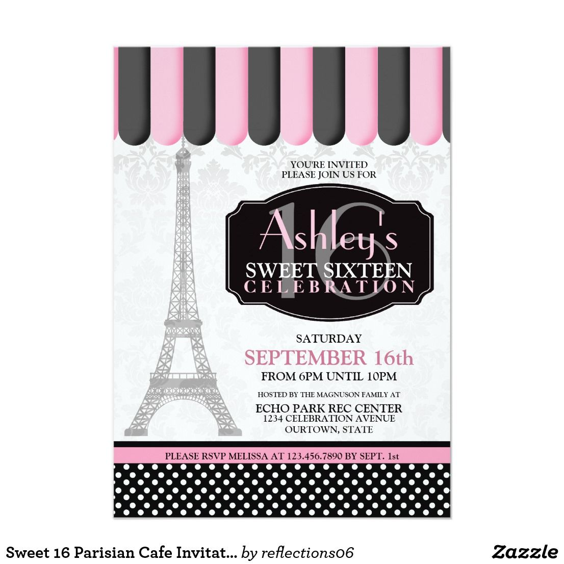 Sweet 16 Parisian Cafe Invitation | Sweet 16 parties, Sweet 16 and ...