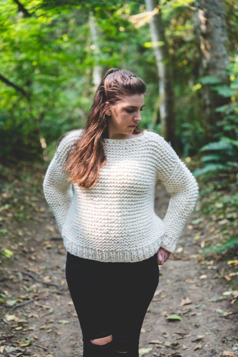 Photo of Beginner Knit Garter Stitch Sweater – Free Pattern • Sewrella